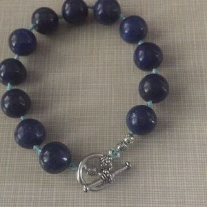 "Jewelry - New lapis lazuli bracelet hand knotted 8"""